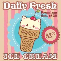 Ice Cream Cat - Vintage