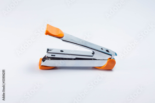 Yellow max stapler on white background
