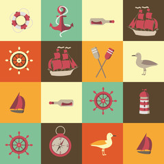 navigation seamless background with sea elements