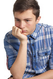 Teenage boy with acne problems poster