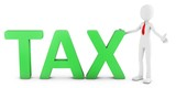 3d man with green tax text