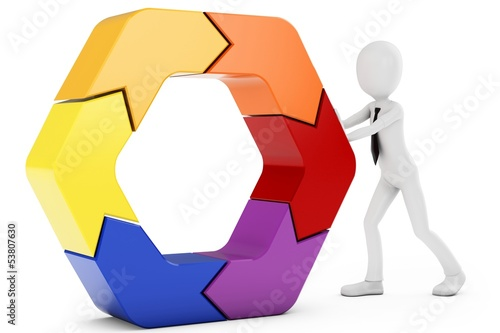 3d man pushing a hexagon
