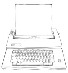 typewriter Gray deville 80 line art