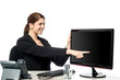 Lady pointing on blank computer screen