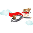 Businessman, Superhero, flying, pointing, clouds