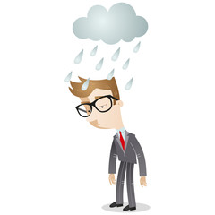 Businessman, cloud, rain, depressed, sad, disappointed