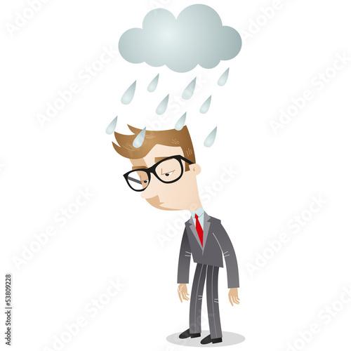 Businessman, cloud, rain, depressed, sad, disappointed