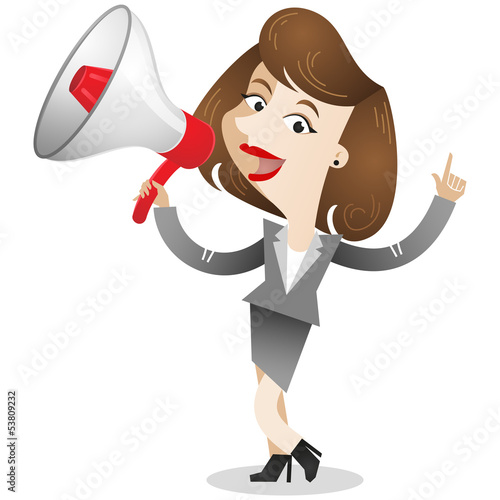 Businesswoman, megaphone, announcement, pointing