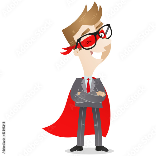 Businessman, Superhero, standing, smiling, arms folded