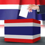 Hand with ballot and box on Flag of Thailand