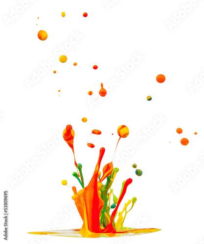 Colored splashes isolated on white background