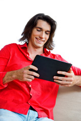 young man with tablet