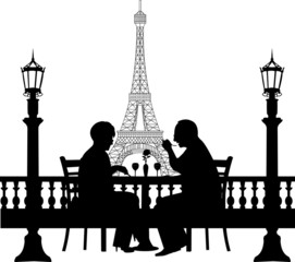 Retired elderly couple having a romantic dinner in Paris
