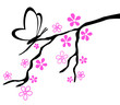Ornament Zweig mit Schmetterling