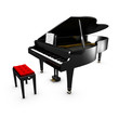 3D opened grand piano and its chair