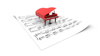 3D opened grand piano model on a partition sheet