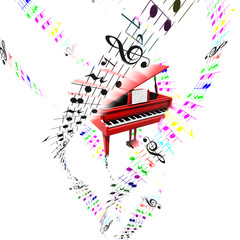 Grand piano with colored flying partition. Aerial concept.