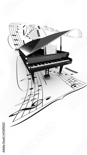 3D opened grand piano on a long flying partition