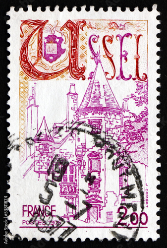 Postage stamp France 1976 View of Ussel, Correze
