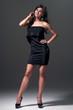Girl in black evening dress