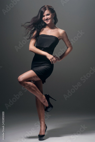 Girl in black evening dress