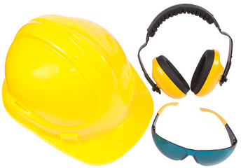 protection ear muffs, helmet and eyewear, with clipping paths