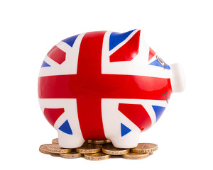 Smiling Union Jack Piggy Bank on white background