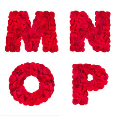 "Words ""M"" ""N"" ""O"" ""P"" made of rose petals"