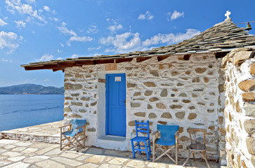 Traditional chapel at Skiathos island in Greece
