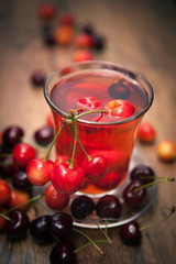 juice, cocktail cherries