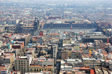 Aerial view of Zocalo, Mexico City