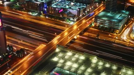 city traffic at night, time lapse