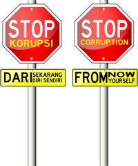 Traffic Sign, with text Stop Corruption