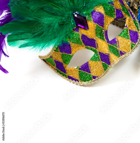 Mardi gras mask on a white background