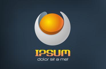 Logo sphere sci-fi. Orange pearl futuristic concept