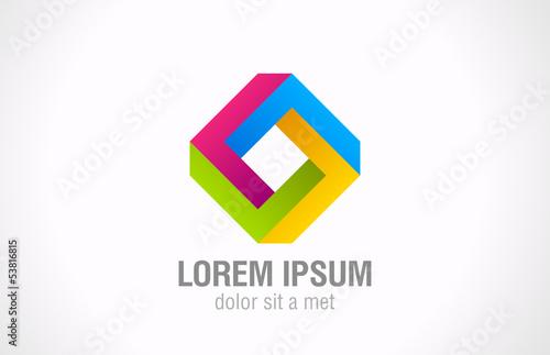 Logo impossible loop rhomb vector abstract. Infinite shape - 53816815