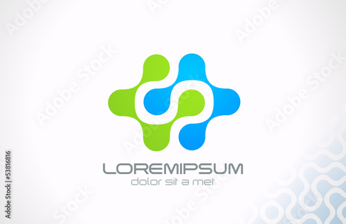 Logo technology molecule and electric science abstract vector.