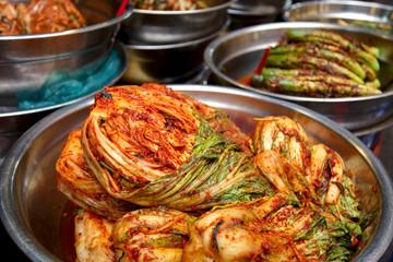 Traditional Korean food: spicy kimchi