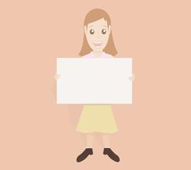 Friendly girl holding board