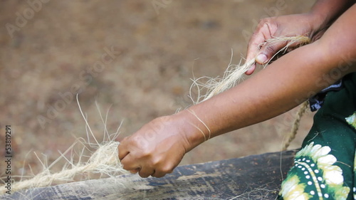 Ancient technique for making rope from coconut fibers