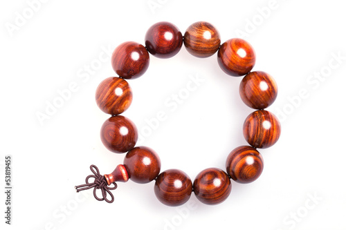 Bracelet made of wood brown color isolated on white background
