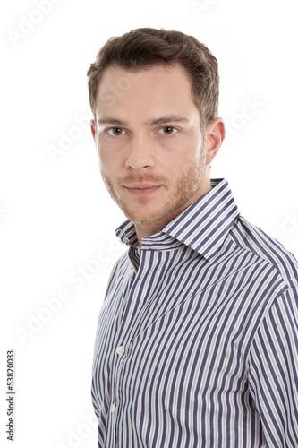 Portrait - Gesicht Mann isoliert in blauem Hem