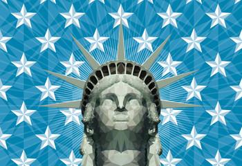statue of liberty head in geometric triangles