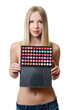 The beautiful woman with a palette eye shadow