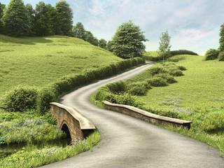Wiejska droga z mostem przez zieloną łąkę