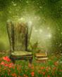 Fotel i książki na magicznej łące