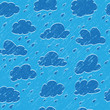 Blue sky, cloud, drop and grunge rain. Seamless background