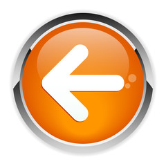 Button leftward orange arrow icon