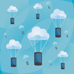 Clouds and parachuting Smartphones