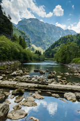 Landscape with mountains and river Salza - Styria, Austria.